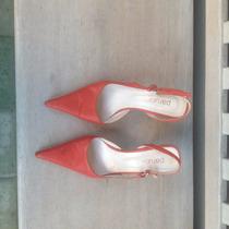 Zapatos Sandalias Paruolo Color Rojo Coral, De Cuero, N 35