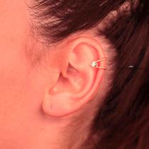 Rommanel Ear Cuff Meia Argola Cristal Brinco Fol Ouro 525150