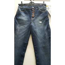 Calça Jeans Flare Cintura Alta Com Botões Jezzian
