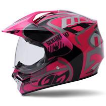 Capacete Motocross Fechado Pro Tork Squad Vision Rosa