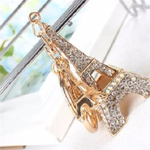 Llavero Torre Eiffel Chapa De Oro Y Cristales Austriacos