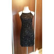 Vestido De Noche De Encaje Negro Entallado C/ Escote Halter