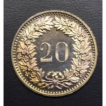 Swi188 Moneda Suiza 20 Rappen 1982 Unc-bu Ayff