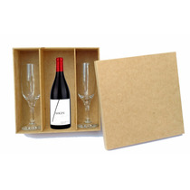 Caixa Para Taças E Mini Vinho -casamento - Mdf Crú - Festa