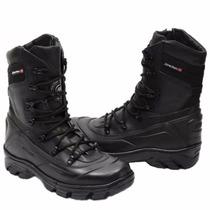 Bota Tatica Semi Impermeavel, Couro, Atron Shoes Preta