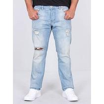 Calça Jeans Skinny Destroyed Masculina Rock & Soda
