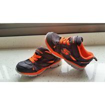 Zapatos Skecher Gris-naranja Talla 25 15cm Buen Estado Usado