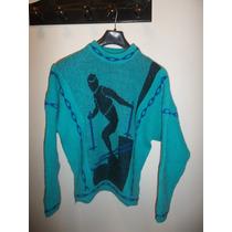 Sweter Mujer Color Turquesa Y Negro Rebajado