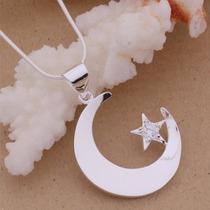Colar Prata Estrela Da Lua Brilhante Mistico Energia