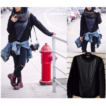Sweatshirt Leather Polera Cuero Negro Dama Otoño Invierno