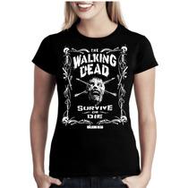 Camiseta The Walking Dead Baby Look Feminina Bandas Séries