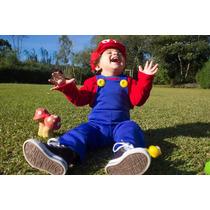 Fantasia Super Mario Infantil E Newborn Luxo Personalizado