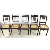 Conjunto Cadeira Antiga Madeira De Lei Assento Palhinha