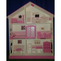 Casita Muñecas Barbie Pintada Decorada Luz Led