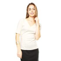 Anna Flynn - Blusa Blanca Escote V - Blanco - L-343049