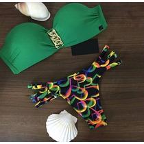 Bellisimo Bikini Verde Negro Corte Sml Brasileño Push Up..