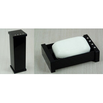 Kit Potes Para Banheiro Em Acrílico Preto Com Strass