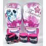 Kit Boxe Muay Thai Feminino Rosa - Luva + Bandagem + Bucal