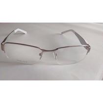 Armação Óculos P/ Grau Masculino Em Metal Mola Nas Hastes