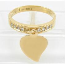 Esfinge Jóias- Anel Pingente Coração Diamante Aro14 Ouro 18k