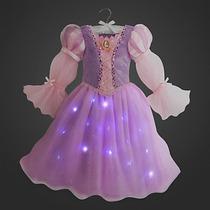 Vestido Rapunzel Disfraz Con Luces Disney Store Importado!!!