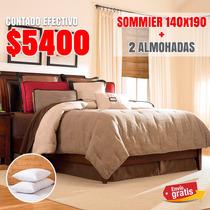 Colchón Resortes + Sommier 2 Plazas Taurus + 2 Almohadas