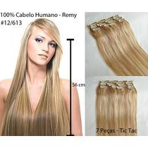 Mega Hair Cabelo 100% Humano 7 Peças 55cm Tic Tac