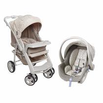 Kit Carrinho De Bebe Optimus + Bebê Conforto Bege Galzerano