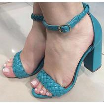 Sandalia Salto Alto Grosso Napa Azul Turqueza Trançada