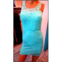 Vestido Corto De Encaje Y Espalda Descubierta Vs Colores