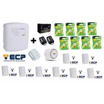 Kit Alarme Ecp Central Maxcell 4 Gsm + Sensores + Baterias