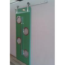 Kit Ferragem Porta De Correr Roldanas Aparente Trilho 2m