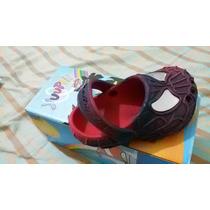 Sapato Infantil Homem Aranha Vermelho E Preto Babuche Crocs