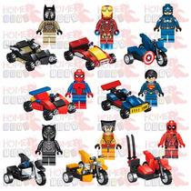 Kit Com 8 Heroes Deadpool Batman Aranha Ferro Wolverine Lego