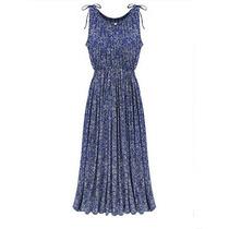 Vestido Importado Floral Longo Azul Plissado Boho Chic Toga