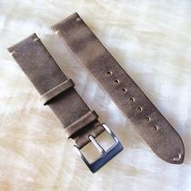 Pulseira Para Relógio Em Couro Vintage Destonada 20 Mm