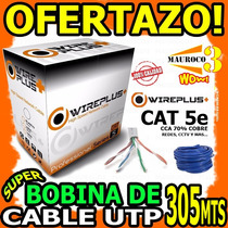 Wow Bobina De Cable De Red Utp 305mts Cat 5e Redes Cctv