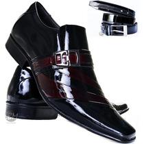 Sapato De Verniz Mais Cinto Social Masculino Couro Legitimo