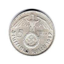 Moneda Alemania Nazi 5 Reichsmark Plata 1937 A #94 Esvastica