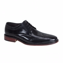 Zapatos Oxford Bostoneanos En Piel Glossy Suela Cuero Msi *
