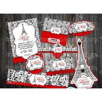 Kit Imprimible Xv Años Quinceañea Paris Vintage Torre Eiffel