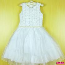 Vestido Infantil Luxo Casamento Dama De Honra Com Tiara