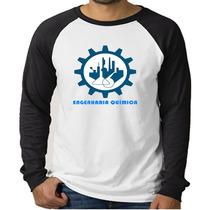 Camiseta Raglan Curso Engenharia Química- Manga Longa