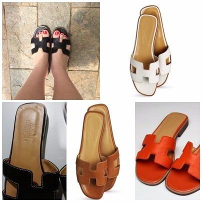 e38457419a2 Sandalia Flat Hermes De Couro Linda!!!! - R  399