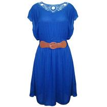 Vestido Manga Con Cinturon Corta Dama Mujer Azul 445 Zoara