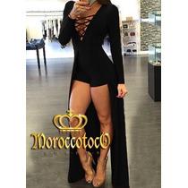 Mono Vestido Short Con Cola Importado Art. 3158
