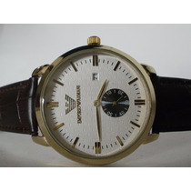 Precioso Reloj Emporio Armani Con Calendario, Piel, Hm4