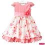 Vestido Infantil Princesa Floral Jardim Encantado Com Faixa