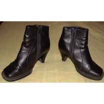 Zapatos Botines Mujer Polini -nº37 Negros-cuero-casi Nuevos