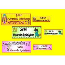 130 Etiquetas Personalizadas Escuela Cuadernos Pluma Lapices